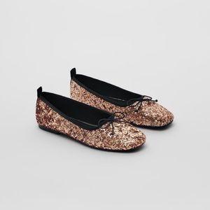 NWT Zara Size 4 big girl Sequin gold ballet flats